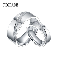 цены High Polished Couple Rings Wedding Band Titanium CZ Stone Ring Love Set Jewelry
