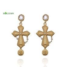 Hot New Arrival Euramerican Pop Baroque Style Brand Dangle Coin Jewelry  Rhinestone Red Gem Cross Earrings 27239bc84414