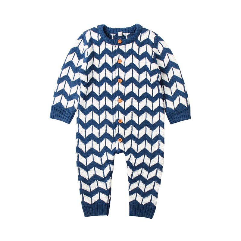 Newborn Baby Boy Girl Romper Onesie Stripe Knitted Long Sleeve Infant Jumpsuits Spring Toddler Coverall Button Up Overalls 0-24M