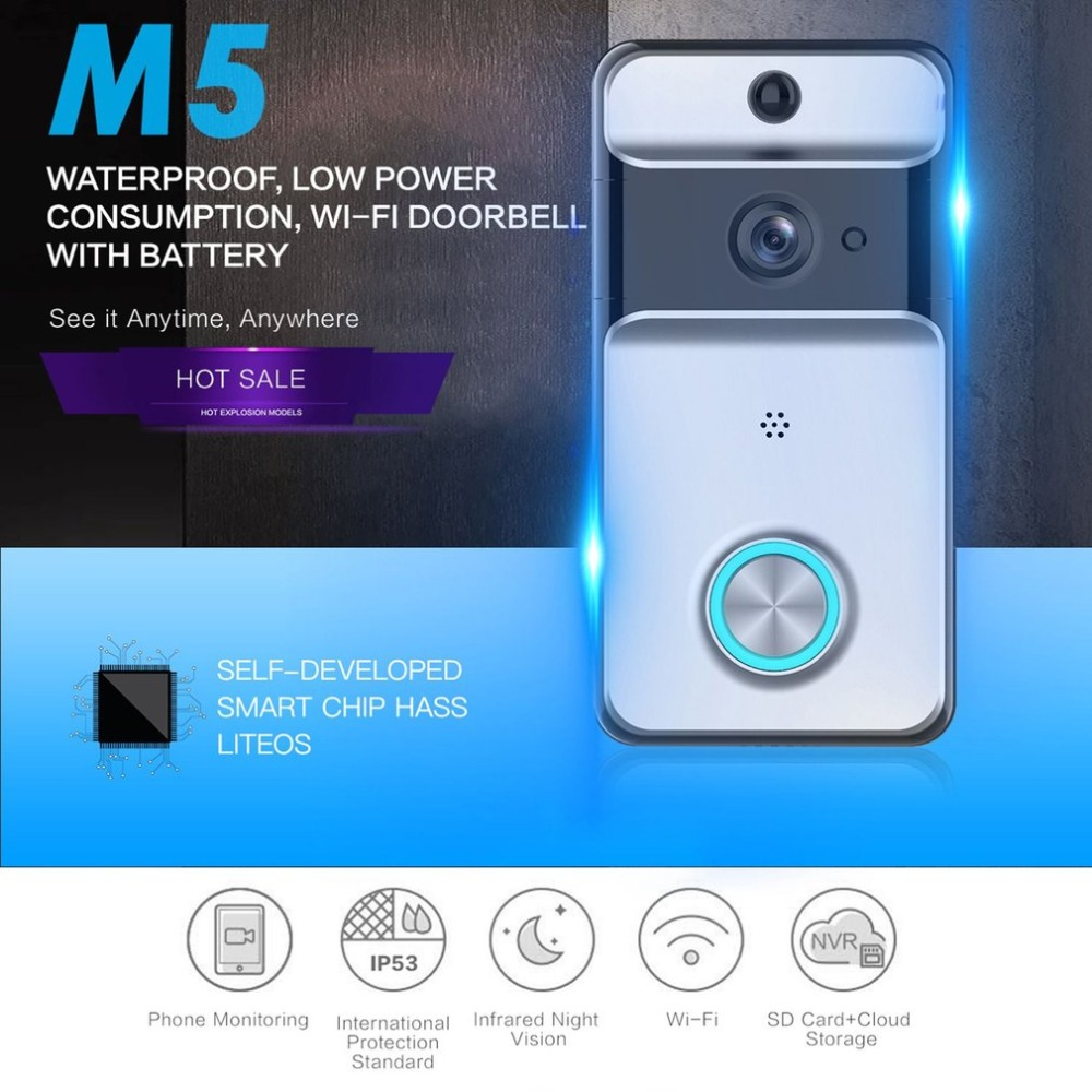M5 Low power Wireless Door Bell WI-FI Video Doorbell Security Camera IR Night Vision Two-way Voice Support TF + Cloud StorageM5 Low power Wireless Door Bell WI-FI Video Doorbell Security Camera IR Night Vision Two-way Voice Support TF + Cloud Storage