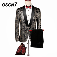 OSCN7 Gold Print Groom wedding dress Suits Men 2018 Brand Clothing Fashion Design men suits for wedding tuxedo 60020