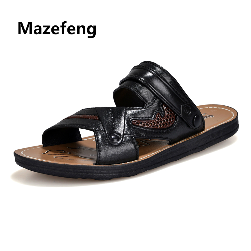 Mazefeng 2018 New Fashion Summer Men Shoes Solid Men Casual Sandals Slip-on Hollowed Out Male Breathable Sandals Flat Slides new arrival summer men sandals leisure solid waterproof male outdoors slippers pu leather fashion slip on sandals w1 35