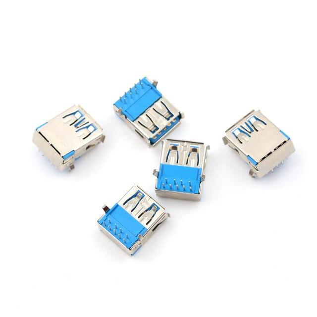 5 Stücke USB3.0 Typ A 90 grad DIP Typ A Buchse Rechtwinklig 9 Pin DIP Buchse
