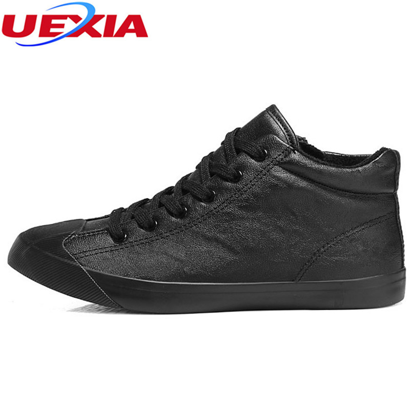 UEXIA Fashion Winter Warm Fur Plush Ankle Boots Men Leather Work Safety Black Casual Shoes Men's Martin Boots Botas Rubber Flats chilenxas autumn warm winter leather footwear shoes men casual new fashion ankle boots breathable light hard wearing anti odor