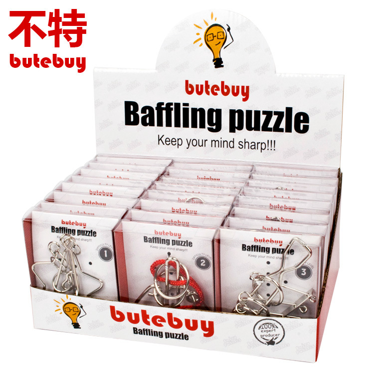 butebuy 24pcs/ set Baffling Puzzl Metal Wire Puzzle IQ Mind Brain Teaser Puzzles Game for Adults Children Kids Gift Board Game classic peg solitaire solo noble puzzle iq mind brain teaser puzzles board wooden game toys for adults children
