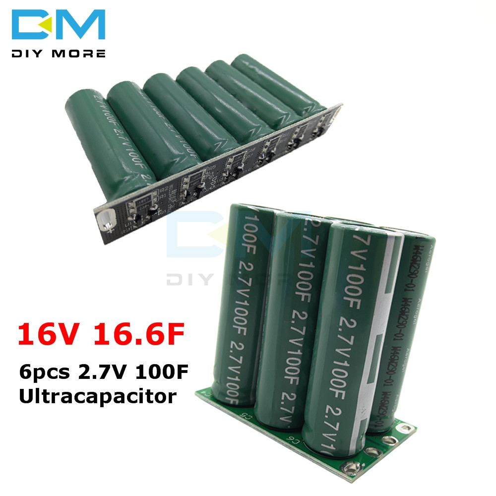 Super Farad Capacitor 16V 16.6F Double Row/Single Row Ultracapacitor 6pcs 2.7V 100F Automotive Rectifier With Protection Board