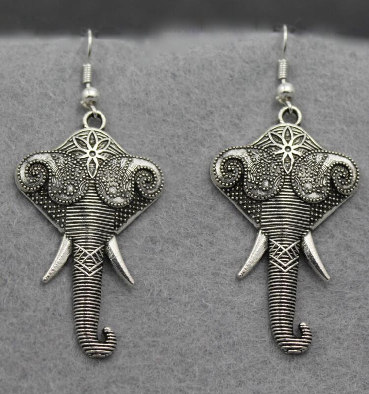 Vintage Elephant Lotus Earrings