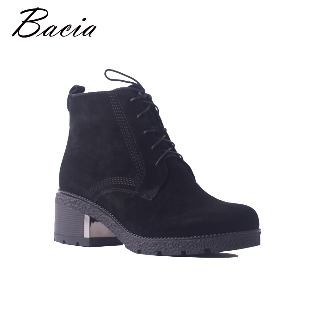 Bacia Winter Fashion Women's Boots Genuine Leather Sheep Suede Snow Boots Classic Wool Fur Warm High Heels Ankle Shoes SB103 salu winter fashion sheep suede boots classic ankle shoes genuine leather wool fur warm square high heel women boots