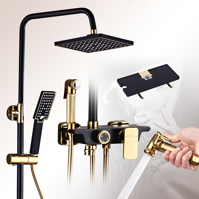 Factory direct new quality shower set black gold-plated button four-speed rack bathroom sprinkler цена