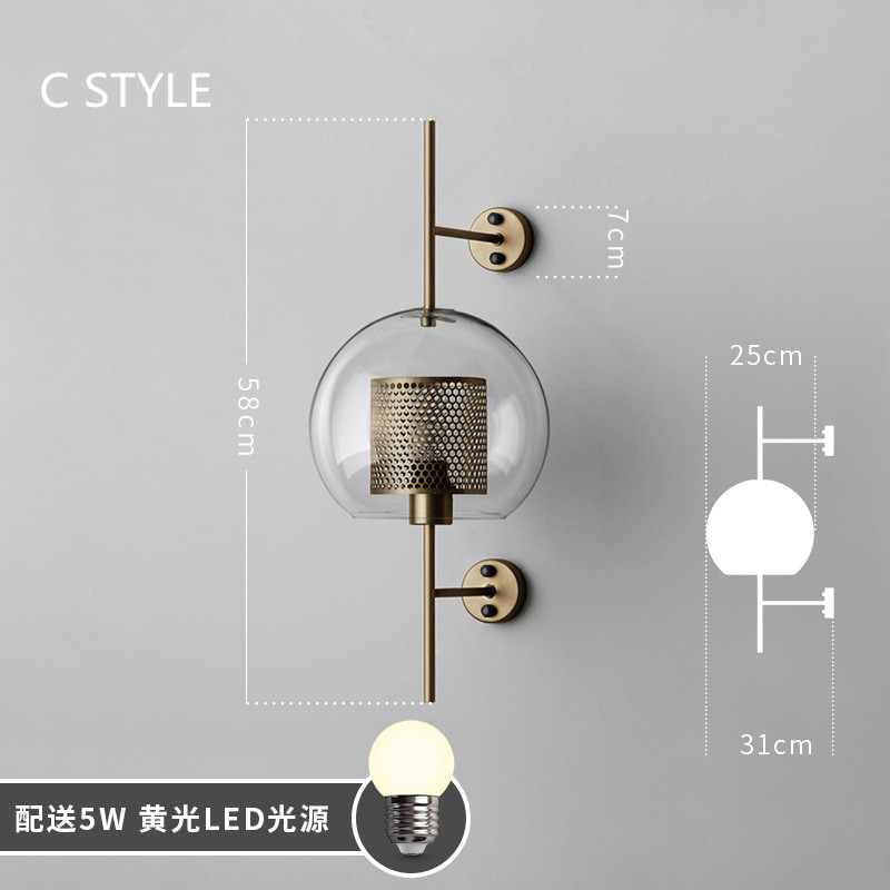 Image 4 - Industrial Style Retro Wall Light Vintage Creative Concise Glass Light Kitchen Restaurant Loft Led Wall Sconce Free Shipping-in LED Indoor Wall Lamps from Lights & Lighting