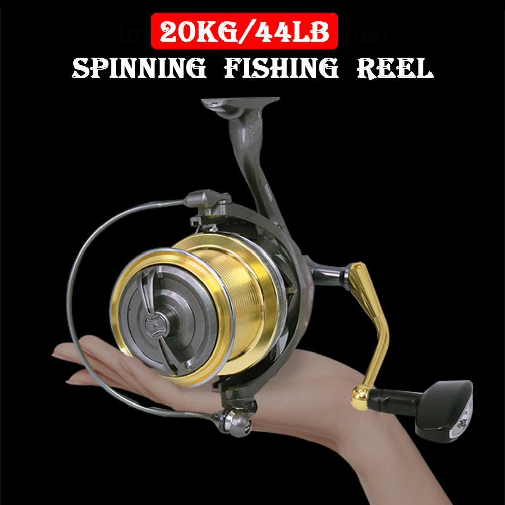 DEUKIO Spinning Reel Distant Wheel 20KG/44LB Max Drag 6+1BB All Metal Spool Wire Long Cast Spinning Fishing Reels SH10000/12000