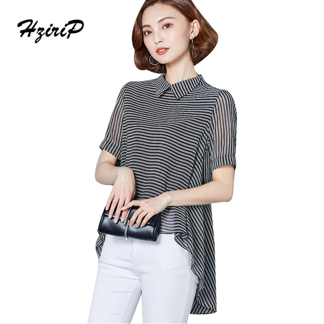 1ff249dc3af4 HziriP Women Shirt Striped Fashion Tops Large 2017 Summer Blouses Short  Sleeve Office Wear Female Casual Clothing Plus Size