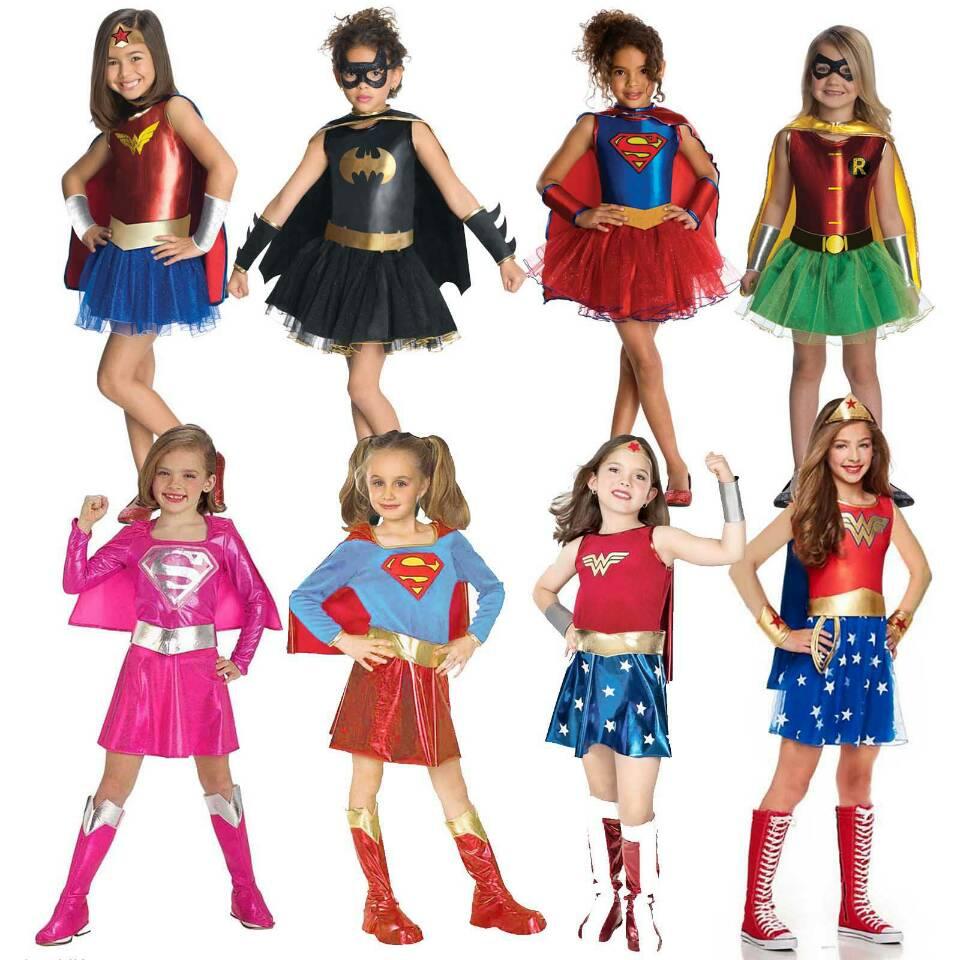 Superheros Girls Costume Batgirl Wonder Women Costumes Robin Supergirl Dress DC Superhero Halloween Movie & TV Costume for Kids Принцесса Жасмин