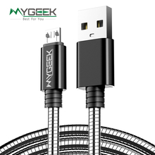 MyGeek Stainless Steel Case Micro USB Cable for Samsung Xiaomi Huawei HTC ETC wires 1m 0.5m microusb Mobile Phone cables