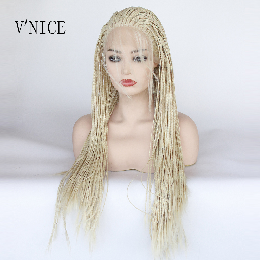 Colored Platinum: Synthetic Braided Lace Front Wigs Platinum Blonde Color