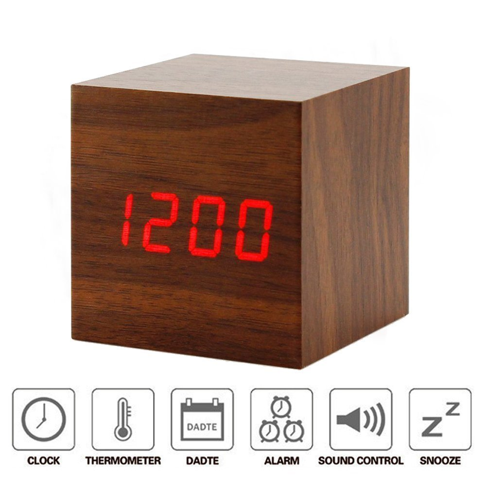 EAAGD Alarm Clock Small Cube Wood Clock LED Mute Bedside Clock Temperature Digital Clock with Sound Control Function