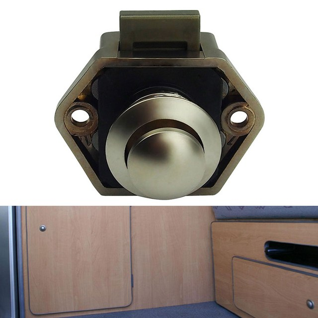 20mm Push Lock Button Cupboard Door Knob RV Cabinet Drawer Caravan ...