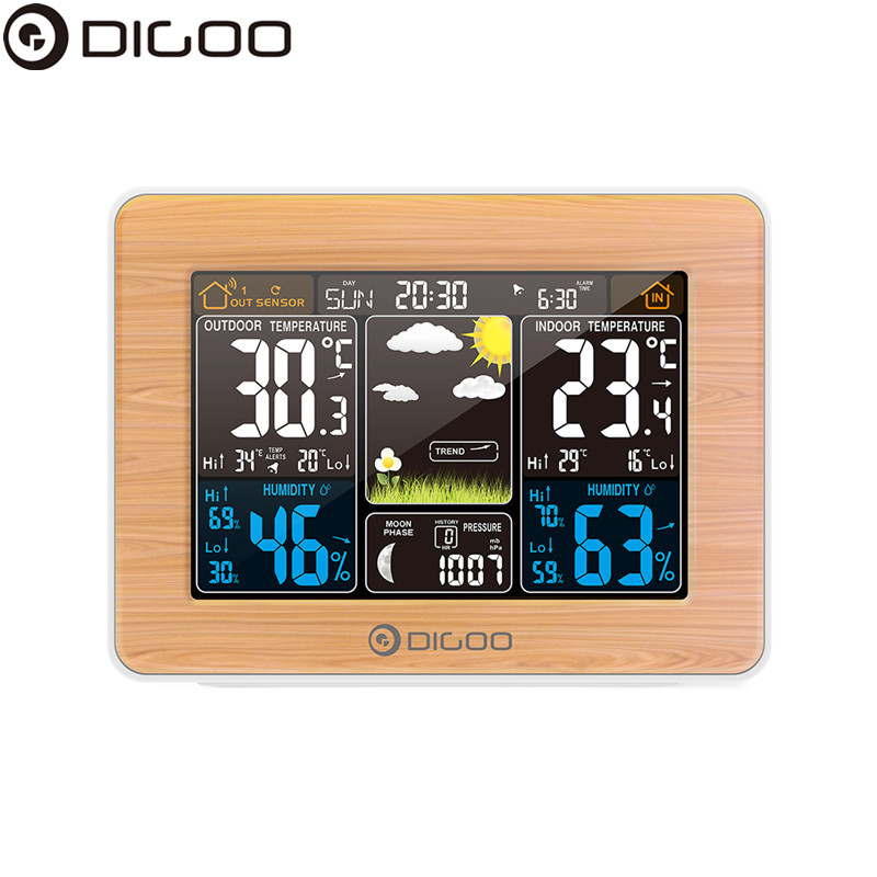 DIGOO DG-EX002 Weather Station Color Digital Clock Temperature Humidity Sensor Thermometer Forecast Desk Table LCD Alarm Clock digital compact lcd thermometer clock with outdoors remote sensor