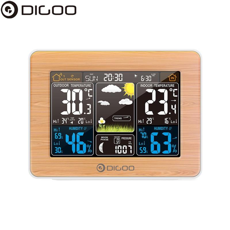 DIGOO DG-EX002 Weather Station Color Digital Clock Temperature Humidity Sensor Thermometer Forecast Desk Table LCD Alarm Clock