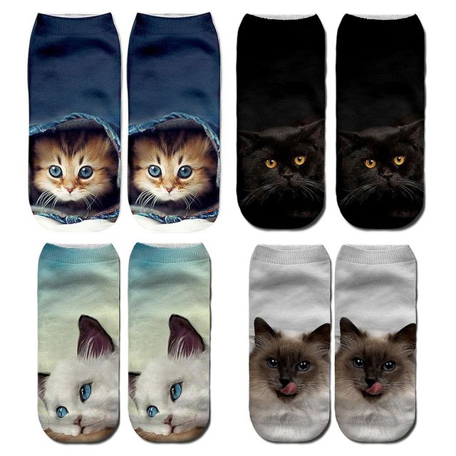 Cute Unisex Casual Low Ankle 3D Cat Printing Socks 1 Pair