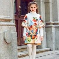 Kidsalon Girls Dress Vestido Infantil Moana Dress Flower Print Kids Dresses For Girls Clothing Robe Fille