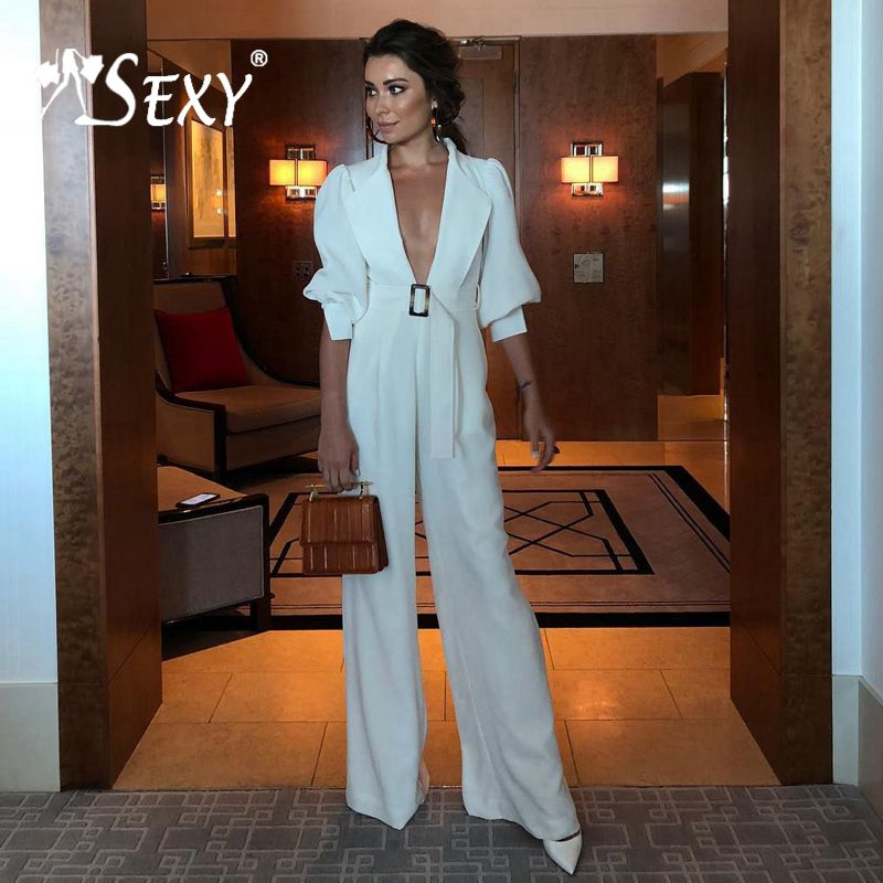 Gosexy New Plunge Deep V Neck Puff Sleeves Lapels Belt With Buckles Flare Legs Women Sexy Fashion   Jumpsuits   White