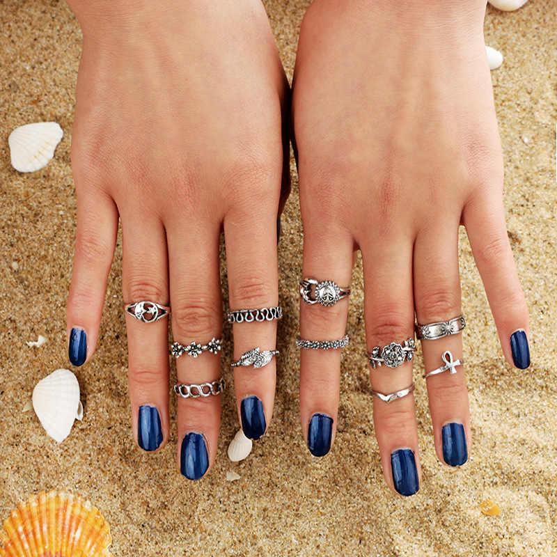 Punk Knuckle Nhẫn Set Thời Trang Màu Bạc Mũi Tên Tam Finger Midi Nhẫn cho Phụ Nữ Boho Bãi Biển Đồ Trang Sức