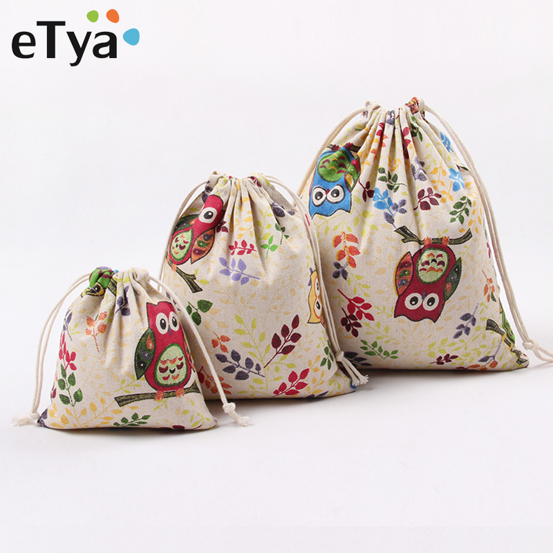 ETya Cotton Linen Drawstring Bag Travel Home Storage Clothes Shoes Bags Women Portable Package Drawstring Gifts Pouch Wholesale