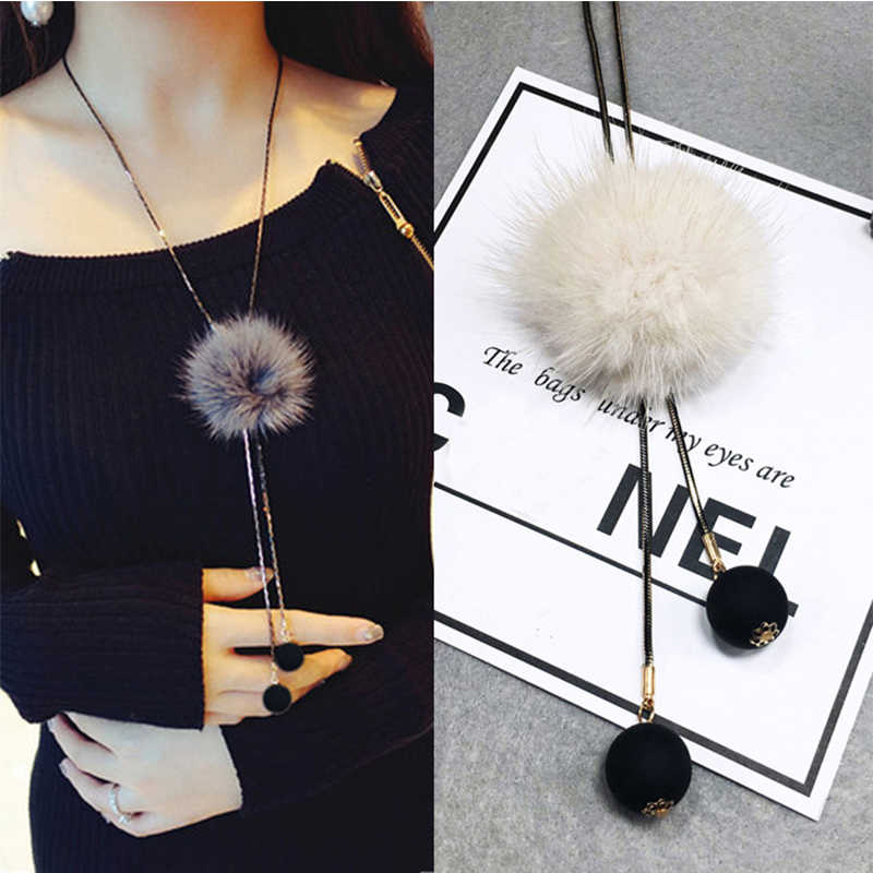 Women Ladies Winter Long Jersey Sweater Chain Fur Pompom Pendant Necklace Statement Necklace Jewelry Accessories Gift for Girls