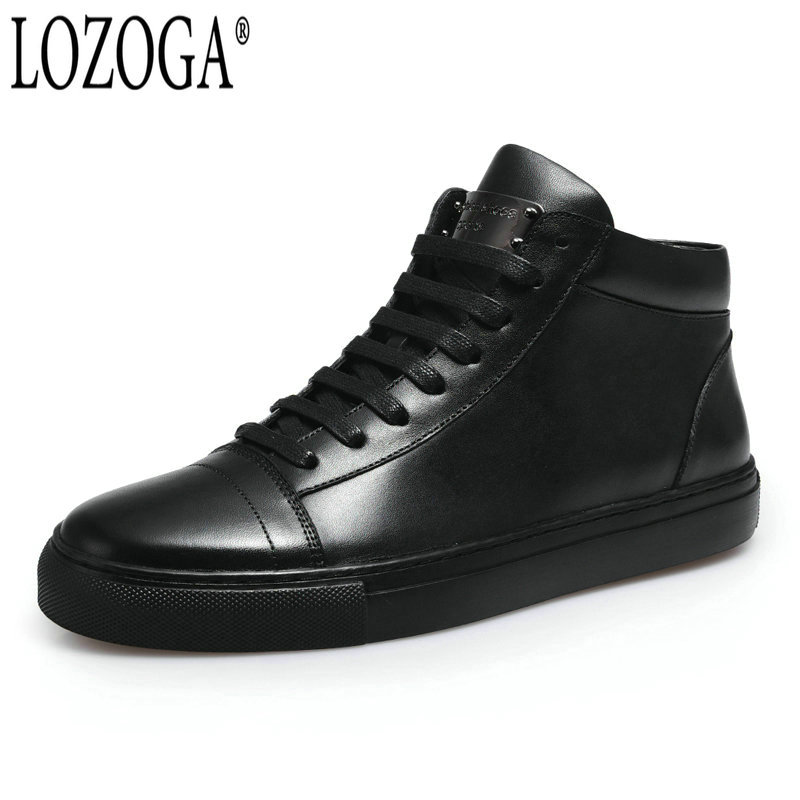 LOZOGA Top Quality New Men Boots Real Leather Fashion Brand Boots Ankle Western Style Handmade Casual Shoes Boot Men Basic Boots top new men boots fashion casual high shoes cowboy style high quality lace up classic leather ankle brand design season winter