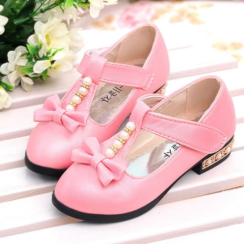 Spring summer Gilrs Bow Pearl Shoes New Children Female Princess Knot Sneakers Kids Bbay Single Leather Shoes