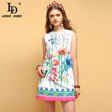 LD LINDA DELLA New Fashion Summer Dress Womens Beading Sequined Appliques Floral Printed Elegant Casual Ladies Vacation Dresses