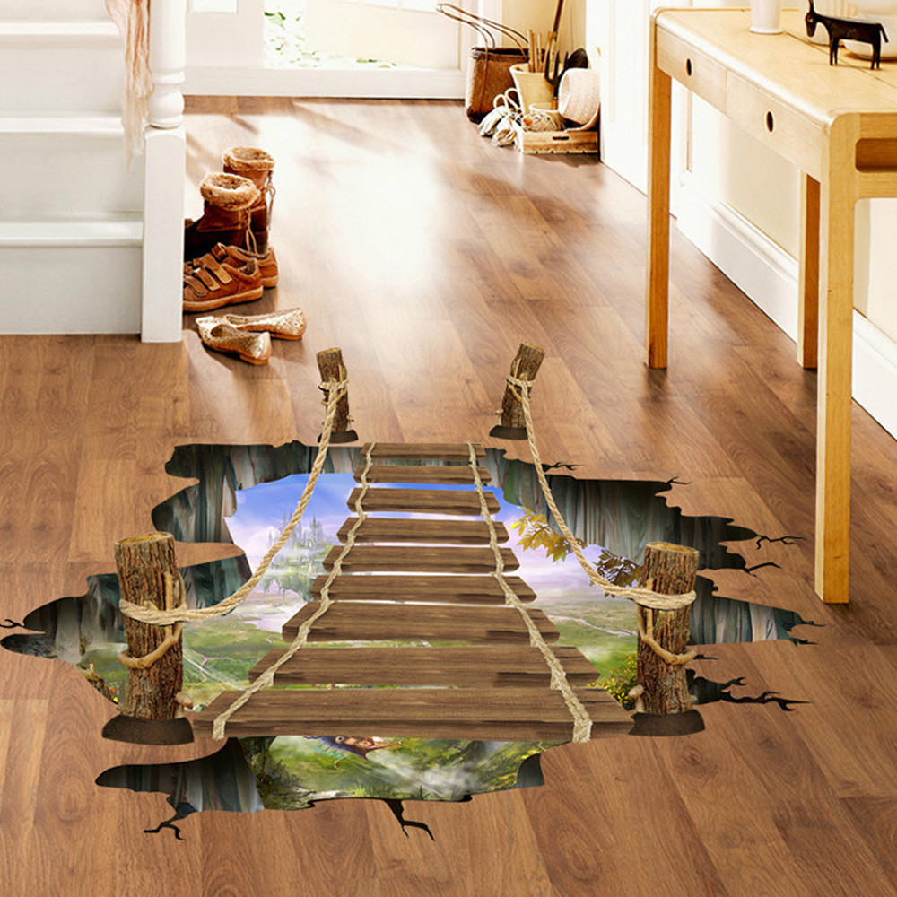 Home Fashion 3D Bridge Floor/Wall Sticker Removable Mural Decals Vinyl Art Living Room Decors Office 3D Floor Sticker Wall Decal