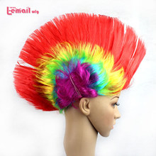 L-email wig 5pcs/lot Punk Colorful Red Green Black Halloween Party Short Mohawk Cosplay Wig(China)