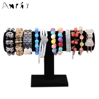 High Quality Black Velvet Jewelry Bracelet Necklace Watch Display Stand Holder Organizer T Bar Free Shipping