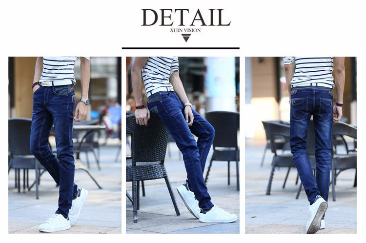 KSTUN Jeans Men's Stretch Blue Buttons Pockets Design Slim Fit Skinny Denim Pants Joggers Jeans Casual Biker Motor Male Trousers 14