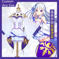 Anime Re:Zero kara Hajimeru Isekai Seikatsu Emilia Cosplay Costume Outfit Fancy Dress+Elf Ears Halloween Costumes for Women