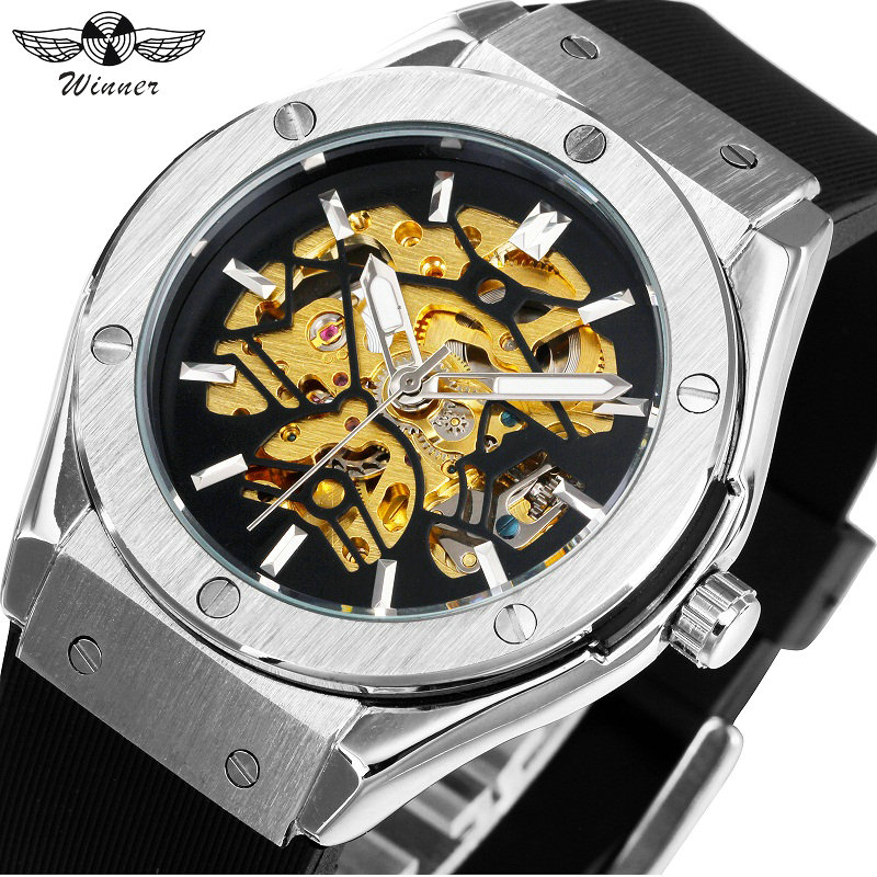 WINNER Men Military Watches 2017 Fashion Auto Mechanical Wristwatch Rubber Strap Skeleton Stainless-steel Case reloj hombre+ BOX