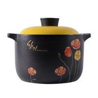 Black Large Casserole High temperature Ceramic Casserole Soup Casserole Soup Casserole Cookware Ceramic Stew Pot kitchen pot