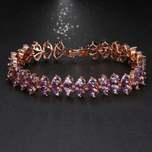 Top Quality Pearl Cut Purple Rhinestone CZ Stone Charm Bracelets For Women Rose Gold Color Elegant Female Bracelet Gifts B-003