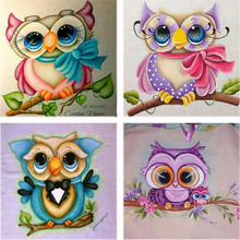 NEW 3D square Diamond Embroidery Cartoon cute owl Painting Cross Stitch Home Decor DIY Mosaic Wall