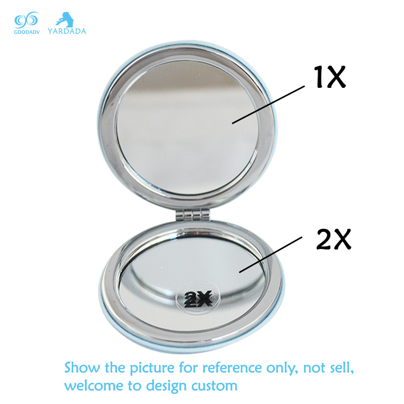Custom design PU metal folding fashion notebook form purse pocket mirrors handbag travel mini magnifying cosmetics makeup mirror