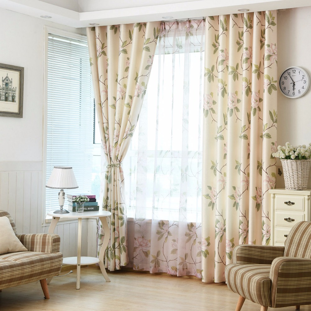 New Hot Curtains Tulles For Living Room Bedroom Kitchen Door Customized  Ready Made Elegant Floral Blackout Country Fresh Style