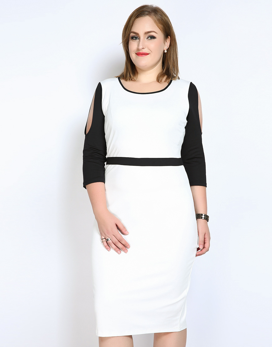 Elegant dresses with sleeves for teens champagne sleeved semi formal - Cute Ann Women S Black And White Patchwork Plus Size Cocktail Party Dress Three Quarter Sleeve Midi Semi Formal Night Dress