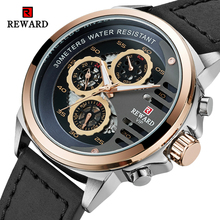 REWARD Men Watch Large dial Chronograph Sport Mens Watches Fashion Military Leather Waterproof Quartz Watch Relogio Masculino