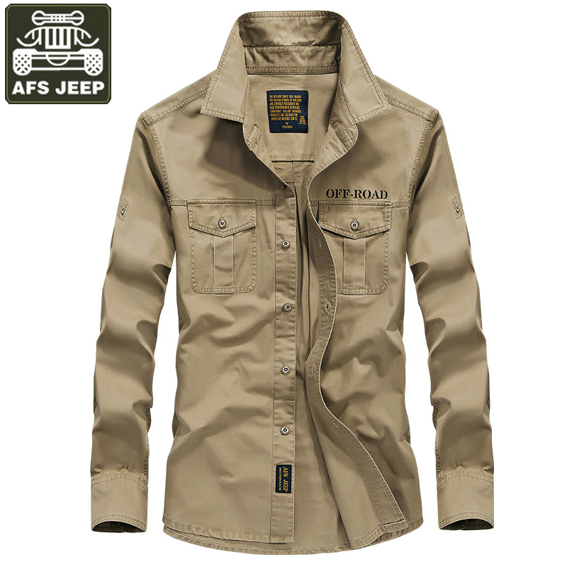 AFS JEEP Shirt Men Long Sleeves Shirts Military Shirt Casual