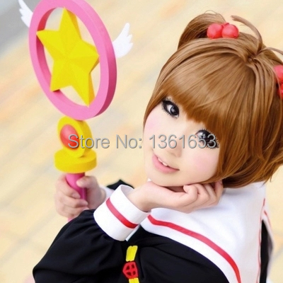 Cardcaptor Sakura wig cos Sakura Kinomoto cosplay accessories short brown wig hair