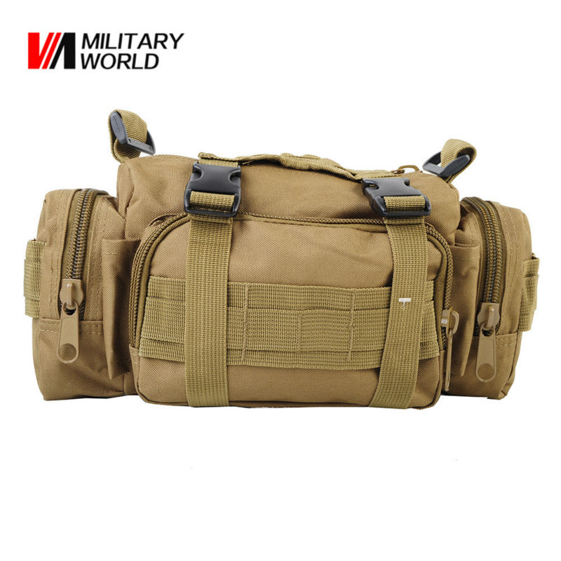 Military Airsoft MOLLE Nylon 3-Ways Waist Pack Tactical Hunting Messenger Shoulder Bags Camping Hiking Vest Belt Pouch Handbag