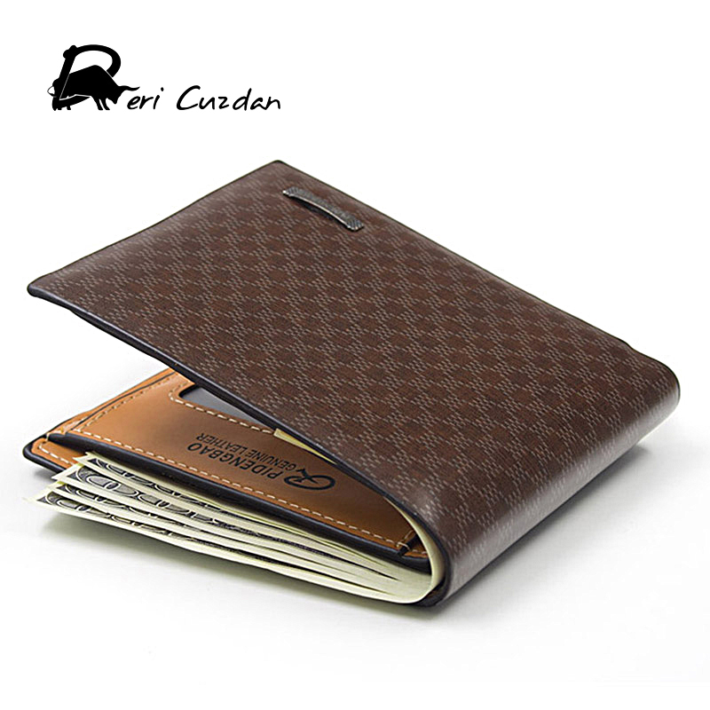DERI CUZDAN New Brown Plaid Men Wallets Leather Famous Brand Men's Wallet 2017 Male Short Purse Small Bags Walet Portfolio Men туфли deri