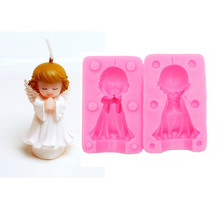 Cute little angel Fan Sugar Cake Silicone Mold Handmade Chocolate Dessert Decoration Candle DIY Kitchen Bake